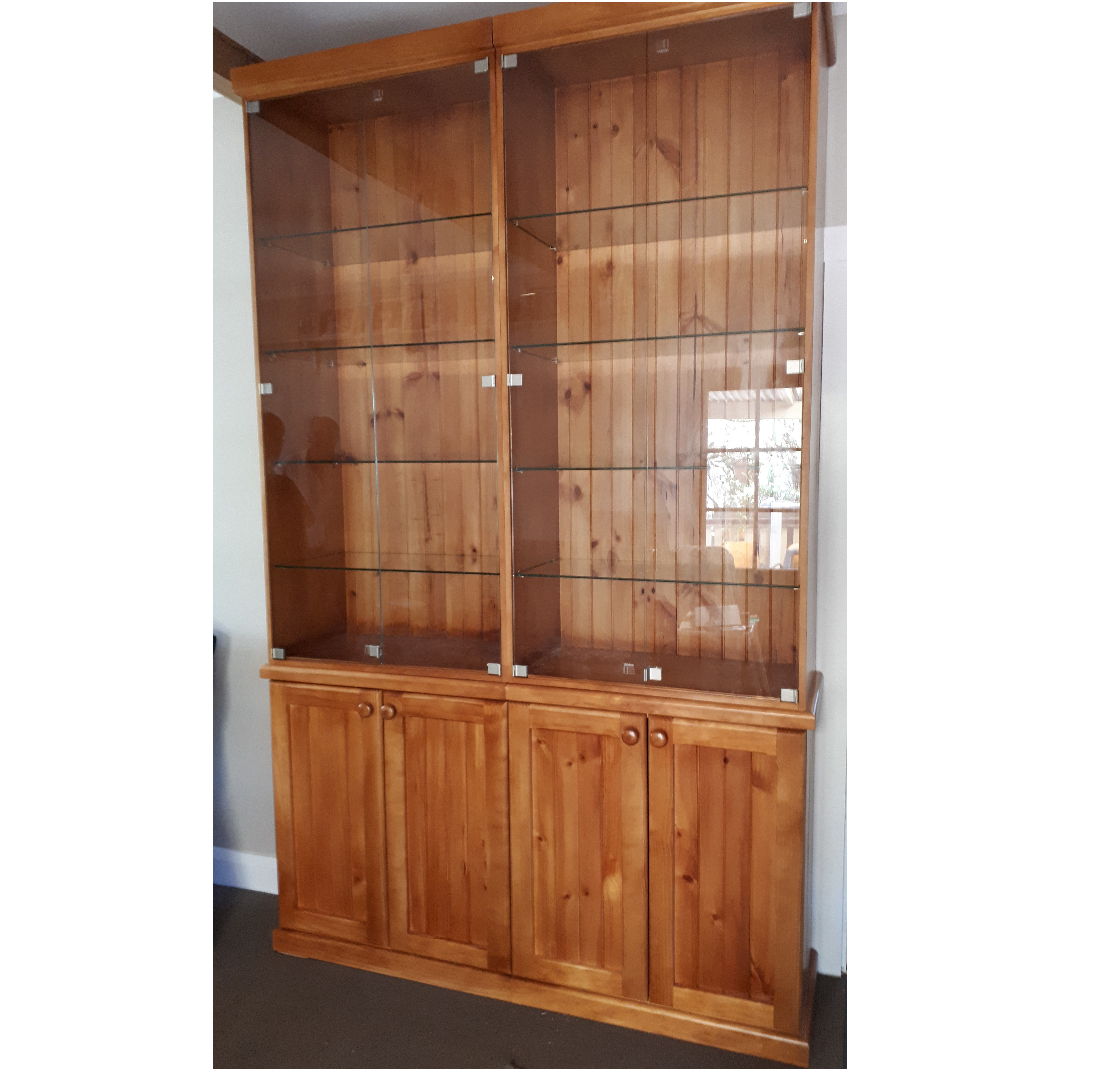 Custom Pine & Glass Display Cabinet